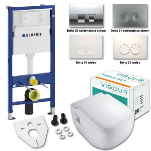 Details zu Komplettset Vigour Derby Wand-WC mit Spülrand inkl. WC-Sitz u.  Geberit UP100